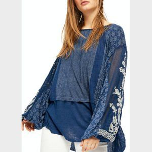 Free People Indigo Blue Lace Embroidered Tunic